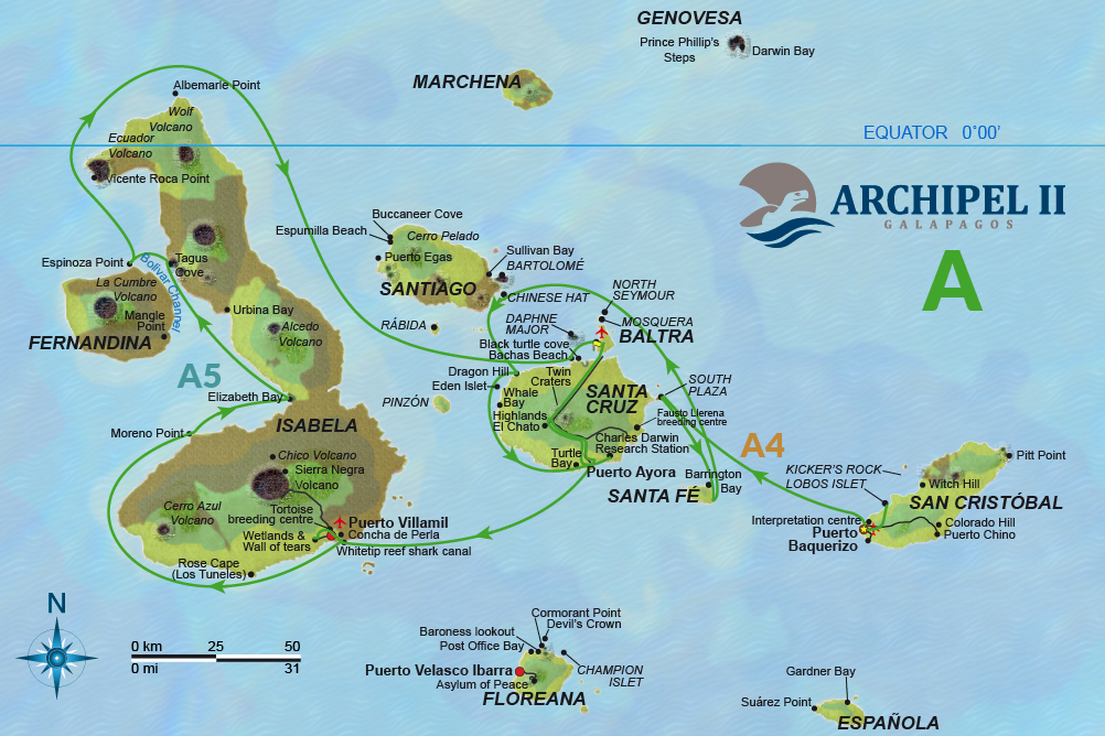 ATC Cruises Galapagos map Archipel II Itinerary A