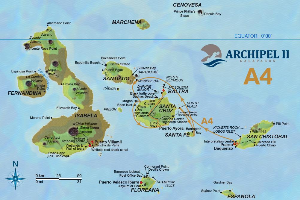 ATC Cruises Galapagos map Archipel II Itinerary A4