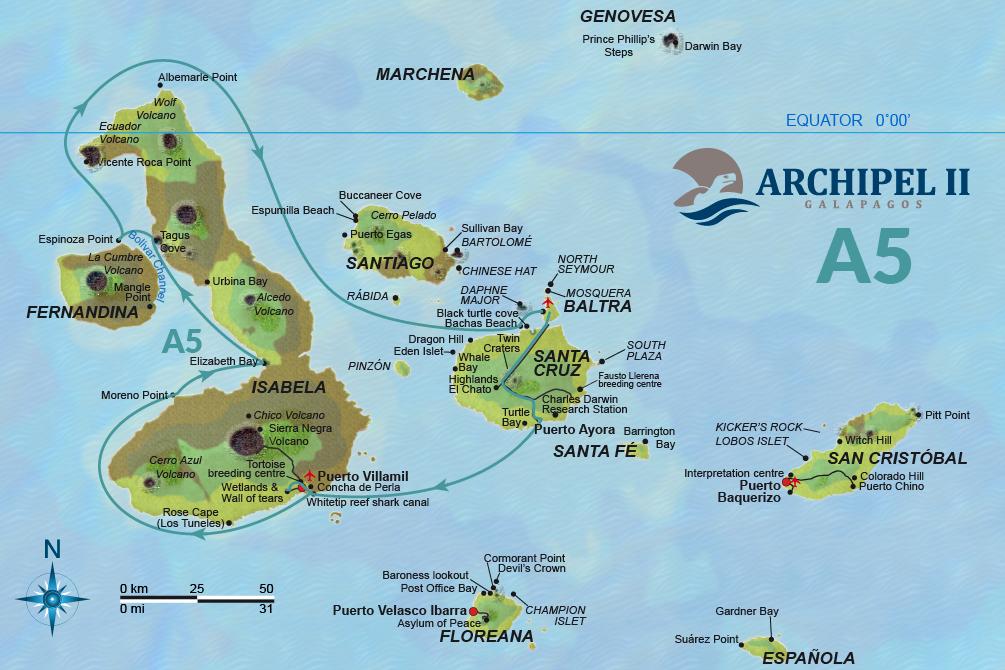ATC Cruises Galapagos map Archipel II Itinerary A5
