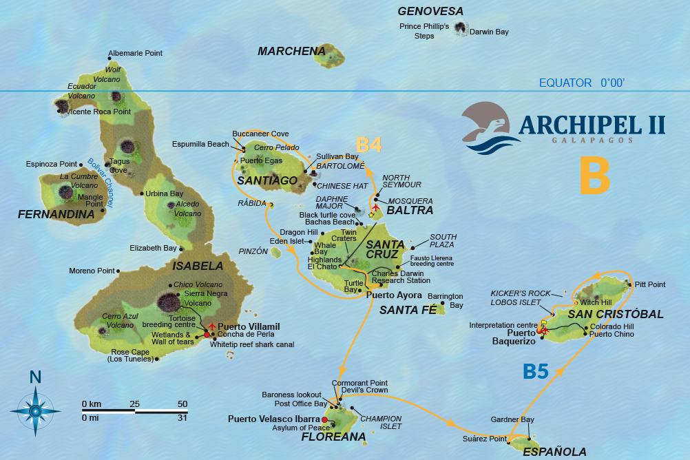 ATC Cruises Galapagos map Archipel II Itinerary B