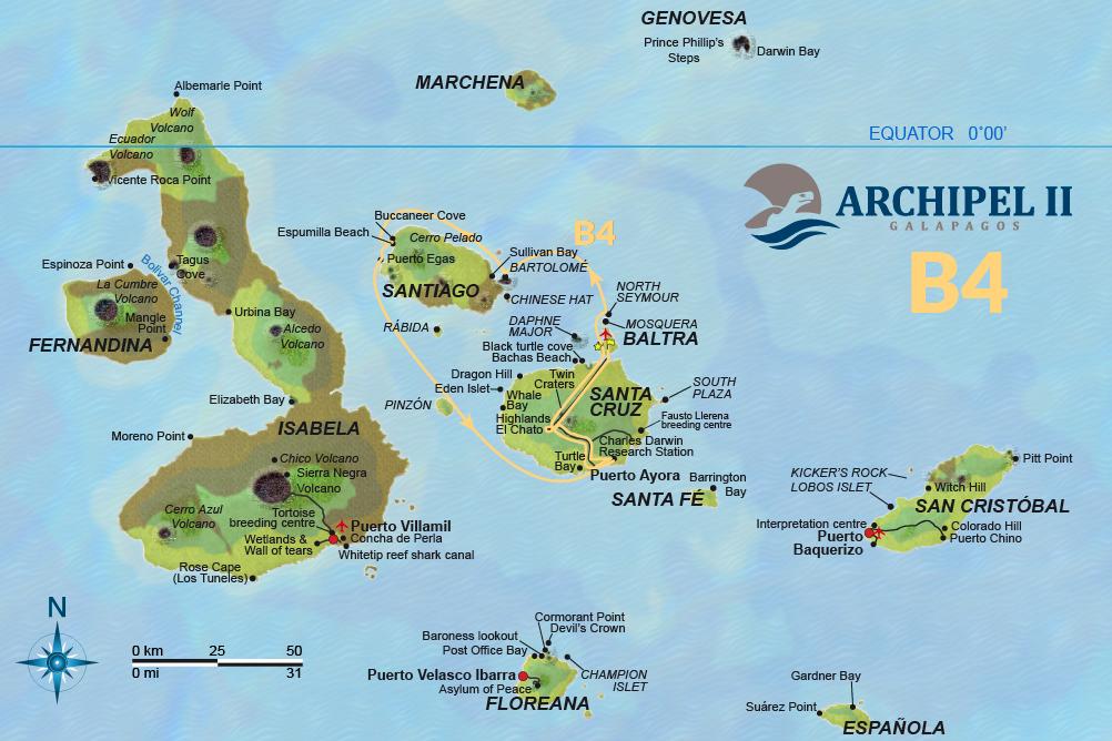 ATC Cruises Galapagos map Archipel II Itinerary B4