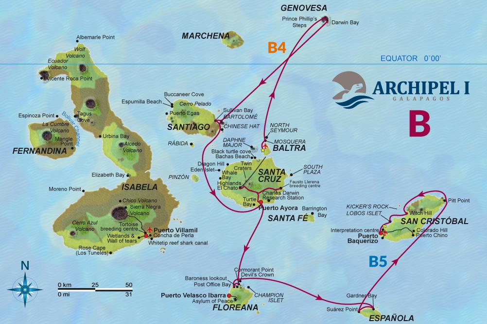 mapa navegable itinerario Archipel en las islas Galápagos